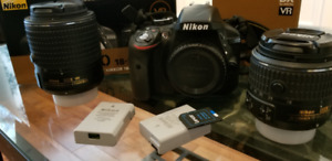 Nikon d3300 with 18-55 lens and 55-200mm lens
