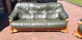 Oak frame leather sofa