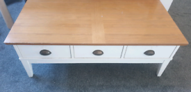 Large Solid Wood White and Oak Coffee Table with Drawers