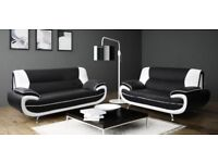 WOW AMAZING OFFER - NEW CAROL FAUX LEATHER 3 AND 2 SEATER SOFA - SAME DAY CASH ON DELIVERY