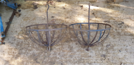 Vintage Cast Iron Hanging Baskets x 2