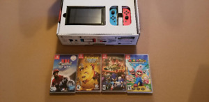 Nintendo Switch Red-Blue Joy-cons + 4 GAMES