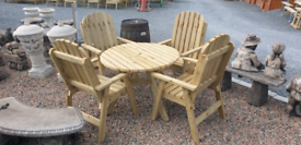 Wooden garden patio table with 4x armchairs