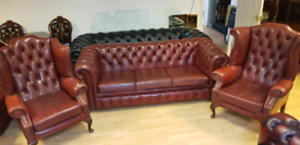 Beautiful 3 pieces quality leather chesterfield 3+1+1 setter