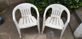 Pair of Plastic Garden chairs