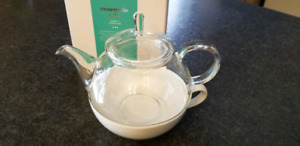 Glass David's Teapot with white teacup - Tea for one set