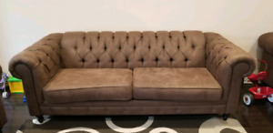 3 piece suede tufted sofa couch
