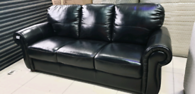 Black Real Italian Leather 3 seater sofa New free local delivery