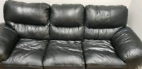 Black Leather Sofa going for less only $390 for three pieces!!