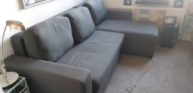 Grey 3 seater corner group with chaise longue double sofa bed.