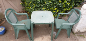 Garden Plastic Table and Two Chairs