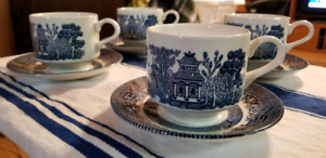 Blue Willow Cups and Saucers