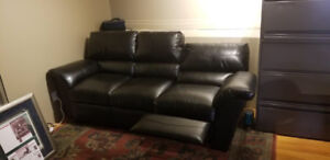 Black leather couch - both end seats recline!