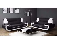 3 COLOURS AVAILABLE - CAROL 3+2 SEATER LEATHER SOFA - IN BLACK RED WHITE AND BROWN COLOR