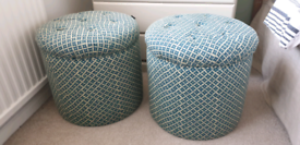 Pair green footstool / side tables