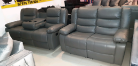 Grey bonded leather 3&2 Seater Recliner sofa set New free local delive