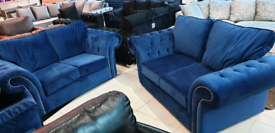 Blue Velvet 2&2 Seater sofa set New free local delivery