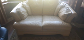 Two two seater sofas leather cream good condition Sofa set