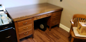 Anitque sold wood desk & 2 chairs
