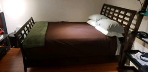 Queen size bed with quality pillowtop mattress and boxspring