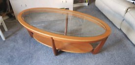 Vintage wooden and glass topped coffee table