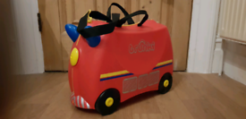 Childs toddler trunki fire engine suit case