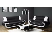 BLACK/WHITE, BLACK/RED, BROWN/BEIGE FAUX LEATHER EXTRA PADDED CAROL 3 + 2 SEATER SOFA IN 4 COLOURS