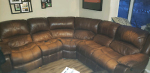 Leather Sectional with 2 Reclining Ends