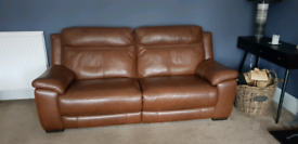 2 x 3 Seater Reclining Leather Sofa