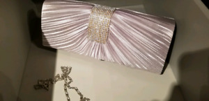 Wedding white and silver clutch