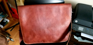 REDUCED PRICE...$40.00..NEW LEATHER BAG..COMPUTER/MESSENGER..ETC