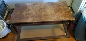 Antique coffee table with pull out glass drawer