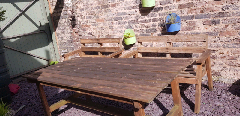 Awesome Garden Set 2 Wooden Benches 6 Seater Wooden Table In Stoke On Trent Staffordshire Gumtree Gmtry Best Dining Table And Chair Ideas Images Gmtryco
