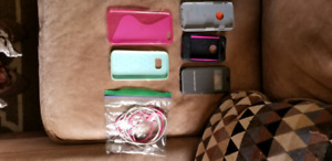 Assorted cell cases  2 charger cords for older apple iphone