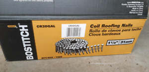 "1 1/4"" Bostitch roofing coils."
