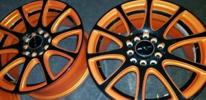 Alloy wheels orange black