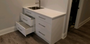NEW White Laquer Kitchen Countertop and Sink (BAR)