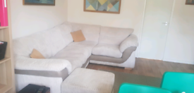 Extra large DFS L shaped sofa and footstool £400