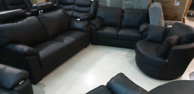 Brown Real leather 3&2 Seater with swivel cuddle chair free local deli