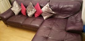 Genuine Leather L shaped corner Sofa DFS