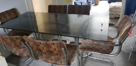Original 1970's retro dining table and 6 chairs