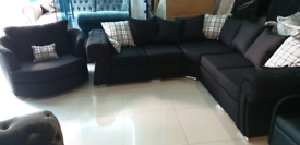 Black Corner Sofa with swivel Armchair free local delivery