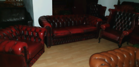3 pieces quality ox blood buffalo leather chesterfield 3+1+1