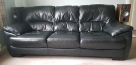 2 + 3 Seater Black Leather Sofa's