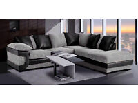 **BRAND NEW** DINO LARGE CORNER SOFA BLACK & GREY JUMBO CORD FABRIC AND FAUX LEATHER WITH FOOTSTOOL
