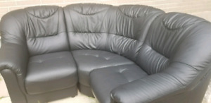 Black leather sectional 3 piece sofa