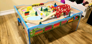 Wood train table with tracks