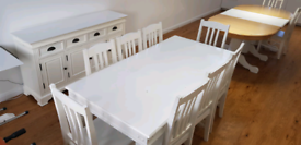 White Shabby Chic Dining Table With Matching Dresser And 10 Chairs