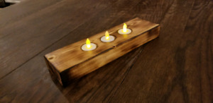 Reclaimed wood Burnt and oiled wooden3 tealight candle holder