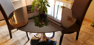 (Reduced)TINTED GLASS TABLE WITH CHAIRS